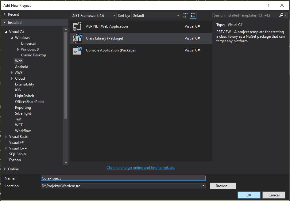 New .NET Core project